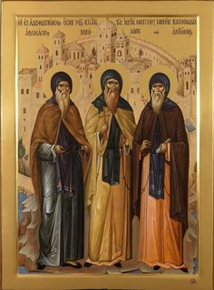 "Athanasius, Nicholas, and Anthony ""Vatopedi Founders"" Russian Orthodox icon Byzantine Icons, Byzantine Art, Religious Icons, Religious Art, Faith Of Our Fathers, Paint Icon, Best Icons, Russian Orthodox, Orthodox Icons"