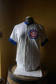 Vintage Chicago Cubs, Baseball Jersey, Button Up, Retro Fan Gear, Adult Size Sm Med, Youth Large, Unisex, MLB, Major League Baseball Gear by BrindleDogVintage on Etsy