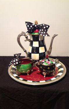 Custom Painted Silver Tea Set  Tea Pot  by paintingbymichele, $225.00