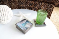 Nautical Coasters Set of 4 on Slate with by FisherAndCoTrading