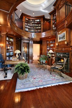 Trendy Home Library Study Office Ideas Study Room Design, Home Library Design, Home Office Design, Home Interior Design, House Design, Dream Library, Office Designs, Luxury Interior, Cozy Home Library