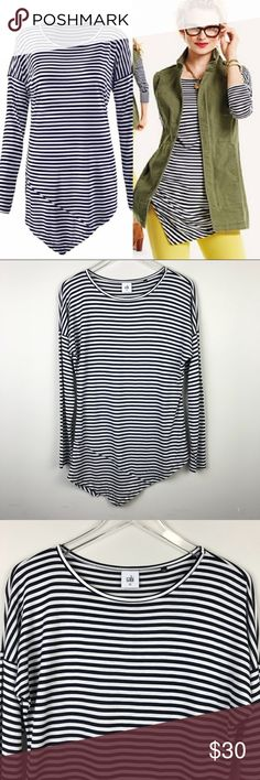"""[Cabi] Boat Stripe Tee 5064 Asymmetrical Top XS Long sleeve blue and white stripe tee. Asymmetrical hem. Super soft and stretchy.   ▪️Pit to Pit: 19"""" ▪️Length: 26"""" - 32"""" ▪️Condition: Pre-Owned. Excellent condition.  ▫️K41 CAbi Tops"""