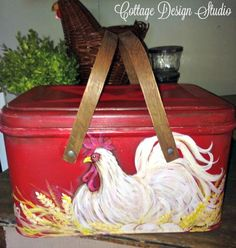Farmhouse rooster bread box bread box by CottageDesignStudio
