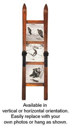 This spectacular ski frame is fashioned after vintage style skis with sepia tone vintage ski photos. Great detail right down to the metal bindings with leather straps. Photographs may vary slightly. Ski Decor, Lodge Decor, Picture Frame Display, Picture Frames, Welcome To My House, Vertical Or Horizontal, Timber Frame Homes, Vintage Ski, Creative Walls