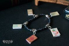 Book bracelet jewelry. Grey book bracelet jewelry. Read geek fantasy fiction dream write writer bracelet jewelry - pinned by pin4etsy.com