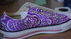 Sharpie Shoe Designs by Lisa Kraase, via Behance Painted Canvas Shoes, Custom Painted Shoes, Hand Painted Shoes, Custom Shoes, Painted Clothes, Crazy Shoes, New Shoes, Me Too Shoes, Sharpie Shoes