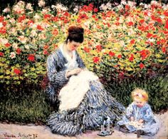 Camille Monet and a Child in the Artist.s Garden in Argenteuil : Claude Monet : Impressionism : portrait - Oil Painting Reproductions Claude Monet, Monet Paintings, Impressionist Paintings, Artist Monet, Kunsthistorisches Museum, Pierre Auguste Renoir, Oil Painting Reproductions, Museum Of Fine Arts, Mother And Child