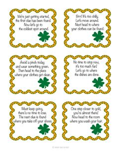 A fun St. Patrick's Day scavenger hunt for kids with printable clues to find the leprechaun's pot of gold!