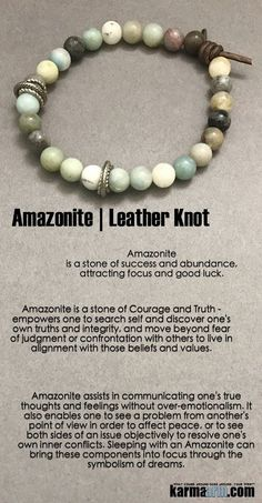 "Amazonite is a ""Stone of Success and Abundance"", attracting focus and good luck. The Amazonite stone is a powerful talisman of healing and prosperity………… It was carved and cut into tablets for the Egyptian funerary text, Book of the Dead, and an Amazonite scarab ring was found among Tutankhamen's treasures. … Yoga Chakra Bracelet. Mens Energy Healing Karma Mala Stacks. Organic Reiki Jewelry. .Meditation Mala……"