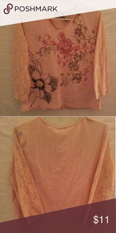 Caribbean Joe Laced Sleeve Top Pink Long Sleeve Laced  Flower Top With  Colors Of Dark Pink Gold Purple & Black. No Trades. This Item.Is From A Smoking Home.. Accepting Reasonable Offers. Thank You For  Visiting Our Closet. Caribbean Joe Tops