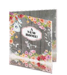 Hippe verhuiskaart verhuisd vogelhuisje houten planken bloemen #verhuiskaartje #verhuiskaart