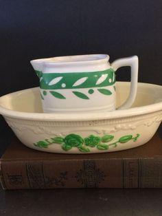 Vintage Creamer Bowl Green White Homer Laughlin Oven Serve Moriyama Spring Decor #HomerLaughlin