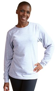 Classic long sleeve performance crew neck t-shirt with the look and feel of cotton. Features a ribbed taped neck collar and reinforced hems in a unisex cut. Available in men's and ladies