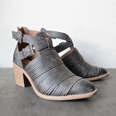 lust valley strappy cutout ankle bootie - grey - shophearts - 1