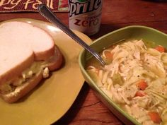 Egg salad sandwich with chicken noodle soup