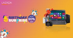 Lazada Philippines is celebrating its 5th year Anniversary Sale offering you magnificent discount of up to 90% on top brands
