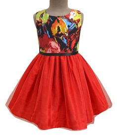 This Red Abstract Maze Tulle Dress - Infant, Toddler & Girls is perfect! #zulilyfinds