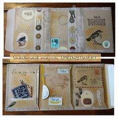 """Snailmail for March 2014"" neutral colored folder, pockets, birds, button string closures"