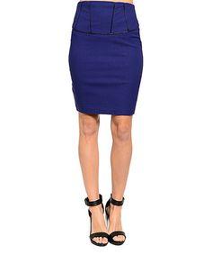 Blue & Black Pencil Skirt #zulily #zulilyfinds