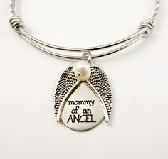 Memorial Bracelet - Mommy of An Angel - Baby Loss - Miscarriage Jewelry - Loss Jewelry - Stillborn Loss - Remembrance Jewelry Bangle Bracelets, Bangles, Pet Remembrance, Great Anniversary Gifts, Infant Loss, Butterfly Necklace, Organza Gift Bags, Girls Jewelry, Bracelets