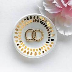White and Gold Mosaic Ring Dish
