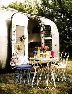 So cute! We're definitely keen to try glamping this summer! Metal furniture is great for not obstructing views or space in small gardens (John Lewis).