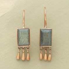 ahhhh, rose gold and labradorite!  from sundancecatalog.com - Gold And Labradorite Earrings  Conical droplets of 10kt rose gold dangle from opalescent rectangles of faceted labradorite that change colors with every shift in the light.