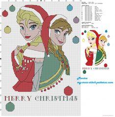 Elsa and Anna Merry Christmas cross stitch pattern