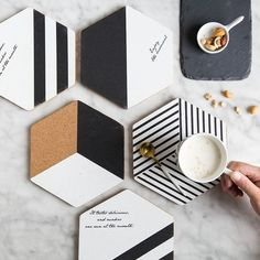 Simple Black White Wood Drink Coaster Coffee Cup Mat Tea Pad Dining Fashion Soft Wooden Placemats Decoration Accessories - 2020 Home Decor Trends Traditional House Numbers, Modern Traditional, Cork Coasters, Drink Coasters, Wooden Coasters, Black Coasters, Coffee Coasters, Cork Wood, Diy Wood