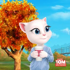 Pumpkin spice latte time! xo, Talking Angela #TalkingAngela #MyTalkingAngela #TalkingHank #LittleKitties #autumn #fall #pumpkin #spice #latte Talking Tom 2, Lifetime Movies, Big Star, Goblin, Fnaf, My World, Hanging Out, Tinkerbell, Animals And Pets