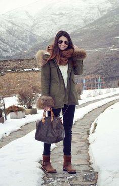 Abbinare la borsa al parka - Handbag Louis Vuitton con parka