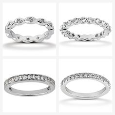 Diamond Eternity settings: They look amazing stacked! Which style would you pick?  They can be made in White, Yellow or Rose Gold.  www.samuelkleinberg.com Or Rose, Rose Gold, Wedding Rings, Engagement Rings, Jewels, Yellow, Diamond, Amazing, How To Make