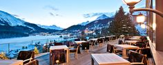 Carlton Bar & Lobby with Terrace - Carlton Hotel St. Carlton Hotel, St Moritz, Sierra, Stunning View, Switzerland, Terrace, Table Decorations, Vacation, Travel