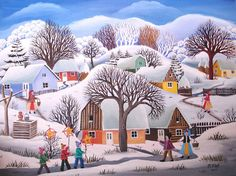 *Mariana Mihut* Winter Painting, Winter Art, Christmas In England, Country Paintings, Primitive Folk Art, Naive Art, Old Art, Art And Architecture, Art Images