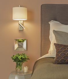 LED bedside wall light with choice of finish and shades