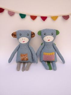 Plush Monkey Stuffed Toy Animal Doll Linen Softie Blue by MeandTex