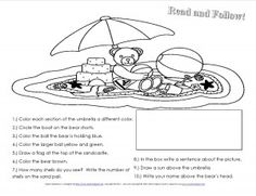Many Beach Themed Free Ideas and Printables on this page - Summer Following Directions Worksheet