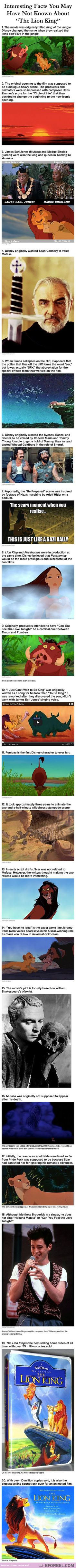 """20 Interesting Facts You May Not Have Known About """"The Lion King""""…"""