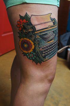 Retro typewriter tattoo by JetBlackNinja Baby Tattoos, Leaf Tattoos, Sleeve Tattoos, Tatoos, Book Tattoo, Tattoo You, Fall Tattoo, Typewriter Tattoo, Teacup Tattoo