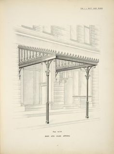 Iron and glass awning. Plate 412-N.