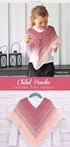 Fantastic Photographs Crochet for kids free patterns Tips Kids Poncho Crochet Free Pattern Crochet Baby Poncho, Crochet Toddler, Crochet Girls, Crochet Baby Clothes, Crochet For Kids, Crochet Shawl, Toddler Scarf Crochet Pattern, Crochet Dress Girl, Crochet Tree