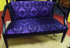 Vintage Purple Sateen and Black Velvet Damask by ModernSwan, $300.00.    I would kill for this.