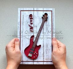 Quilled Bass Guitar - Paper Graphic