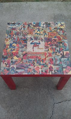 Decoupage table with gloss modpodge, super hero theme