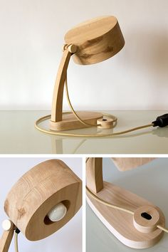 Bambetel is a handmade furniture line from Ukraine. With love to Ukrainian craftsman traditions and nature we build our furniture without any metal parts or joints, only out of natural wood. Wooden Desk Lamp, Wooden Decor, Cool Woodworking Projects, Woodworking Wood, Lamp Design, Wood Design, Lamp Shade Frame, Clamp Lamp, Deco Luminaire
