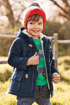 Boys Navy Duffle Coat - Coat Nj