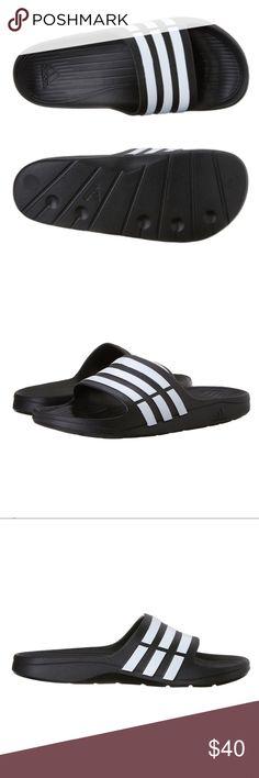 c4bd30cea1da Adidas Duramo Slides Sandal For Men ✨Color  Black   White Signature 3  stripes accent