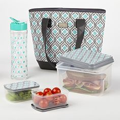 Fit & Fresh Signature Collection Melbourne Designer Bag with Matching BPA Free Container Lunch Set (Grey Aqua Leaf Drop) - View the Entire Signature Collection at www.Fit-Fresh.com