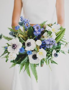 Blue + white anemone + fern bouquet