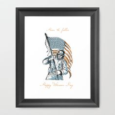 American Soldier Happy Veterans Day Greeting Card Framed Art Print